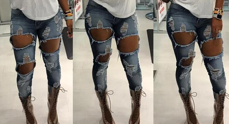 Ripped Jeans Flaco Mujeres Azul Grande Moda Alta Estiramiento Denim 2018 Agujero Las Slim De Femenina Lápiz Pantalones Cintura Leggings xHOPq1X