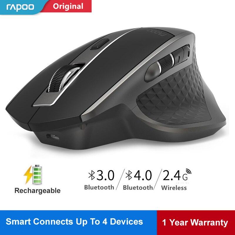 Rapoo MT750 Interruptor entre Bluetooth Rato Ratos Sem Fio Recarregável Laser Multimodo 4.0/3.0 & 2.4G para Quatro Dispositivos conexão