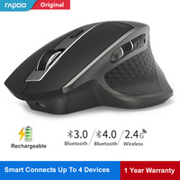 Rapoo Rechargeable Multi mode Wireless Mouse Switch Between Bluetooth & 2.4G Connect 4 Devices Laser Mice Office Computer Mouse