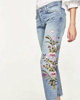 WISHBOP 2017 Summer Woman Mid rise boyfriend jeans with floral embroidery rips pockets frayed hems Cropped Trousers pants