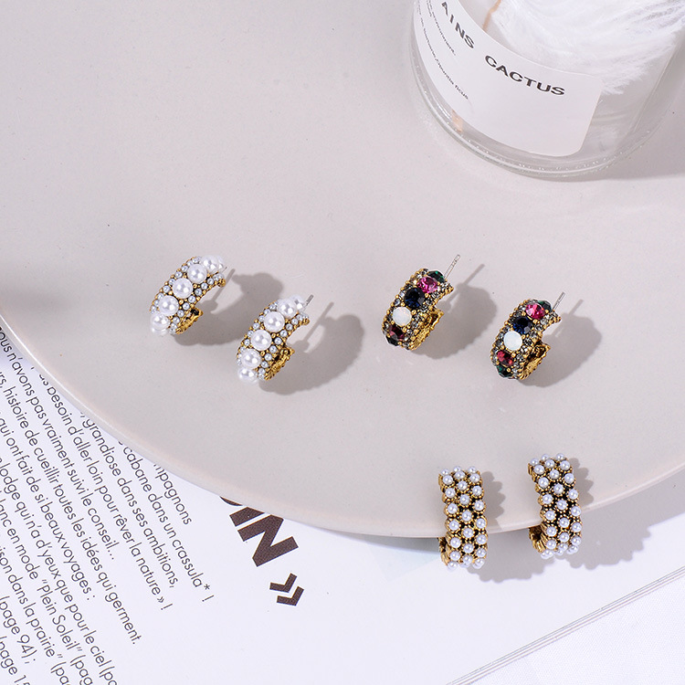 HTB14nSRayLxK1Rjy0Ffq6zYdVXa6 - MENGJIQIAO 2019 New Hot Sale Vintage Colorful Rhinestone Small Hoop Earrings Women Fashion Simulated Pearl Semicircle Pendientes