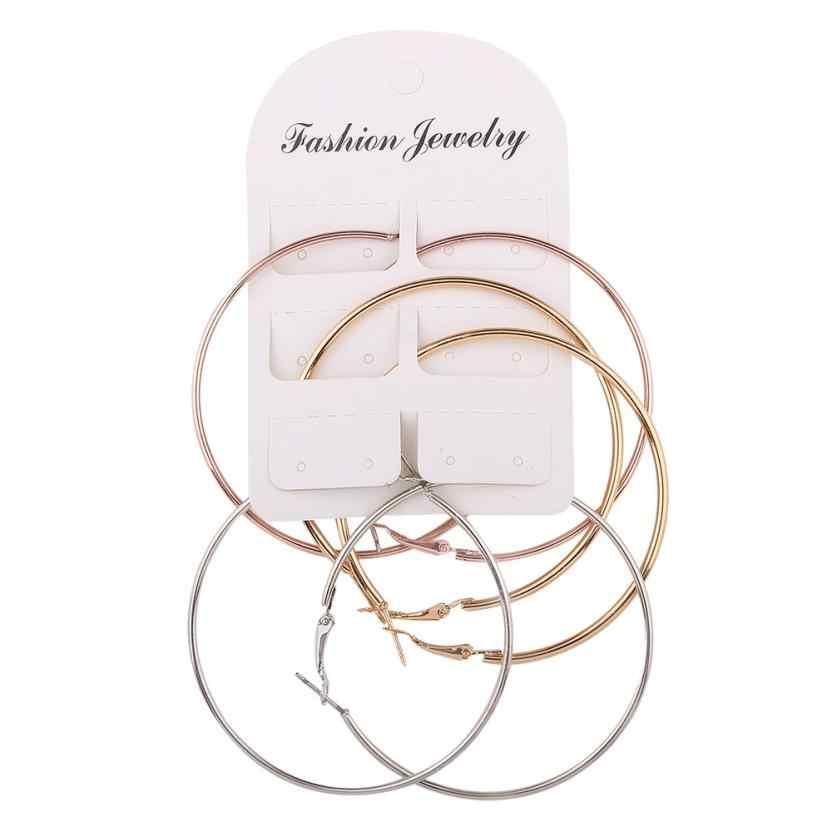 3 cặp Thời Trang Mới Phụ Nữ Phụ Nữ Bông Tai Mỏng Vòng Lớn Lớn Dangle Earrings Hoop Vòng Bông Tai Trang Sức Phụ Kiện Đồ Trang Trí Bijoux
