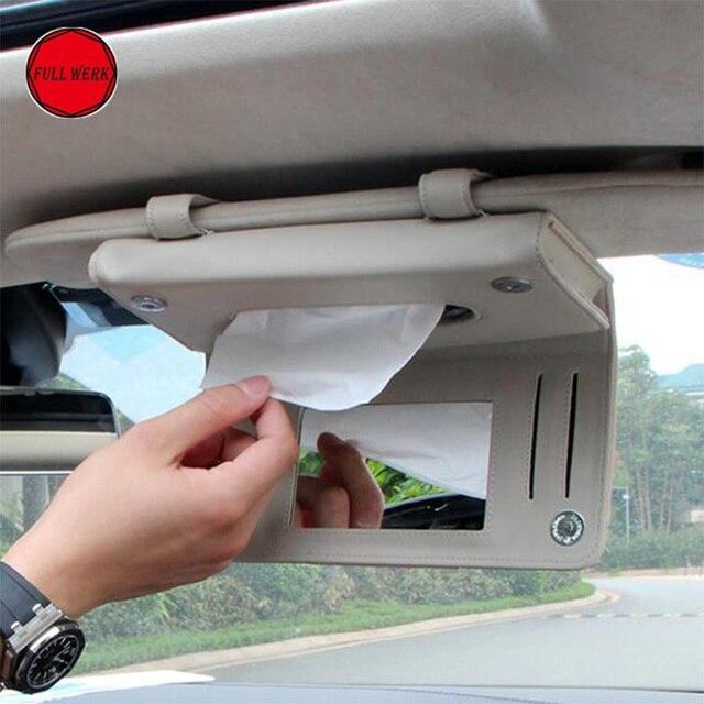 1pc Microfiber Leather Car Sun Visor Hanging Tissue Box Holder for Tesla  Model S Interior Sun Car Visor Card Organizer Clip 88345e01a97