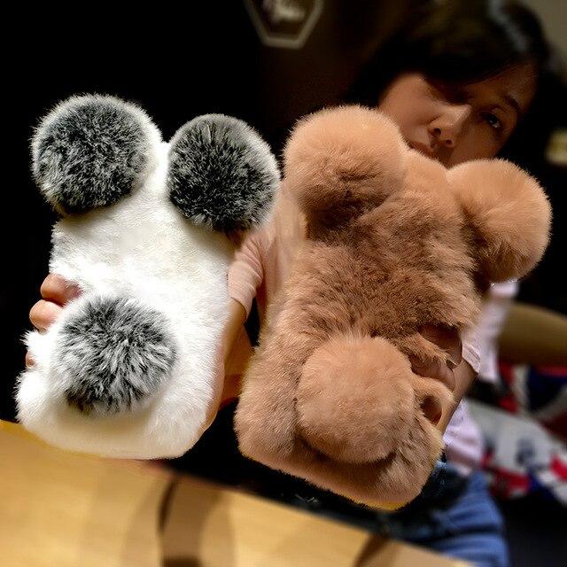 For Redmi Note 6 7 pro 5 4X 5A 6A 7 For Xiaomi A1 A3 A2 lite 8  9 Cute Panda ears Bunny Fluffy Rabbit Warm Hairy Fur phone Case