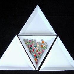 10 Pcs/lot White DIY Tool Rhinestone Diamond Box Round/Triangular Plastic Tray/ Plate For Nail Art DIY Decoration B3490