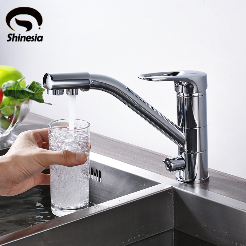 Solid Brass Kitchen Faucet Double Handle Pure Water Kitchen Mixer Tap Purification Tap Chrome Polished цены онлайн