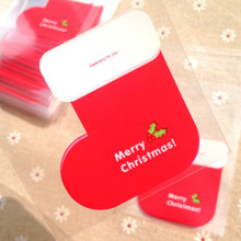 300pcs Christmas Stocking Cellophane Bags Cute Biscuit Plastic Party Favor Bags(Hong Kong)