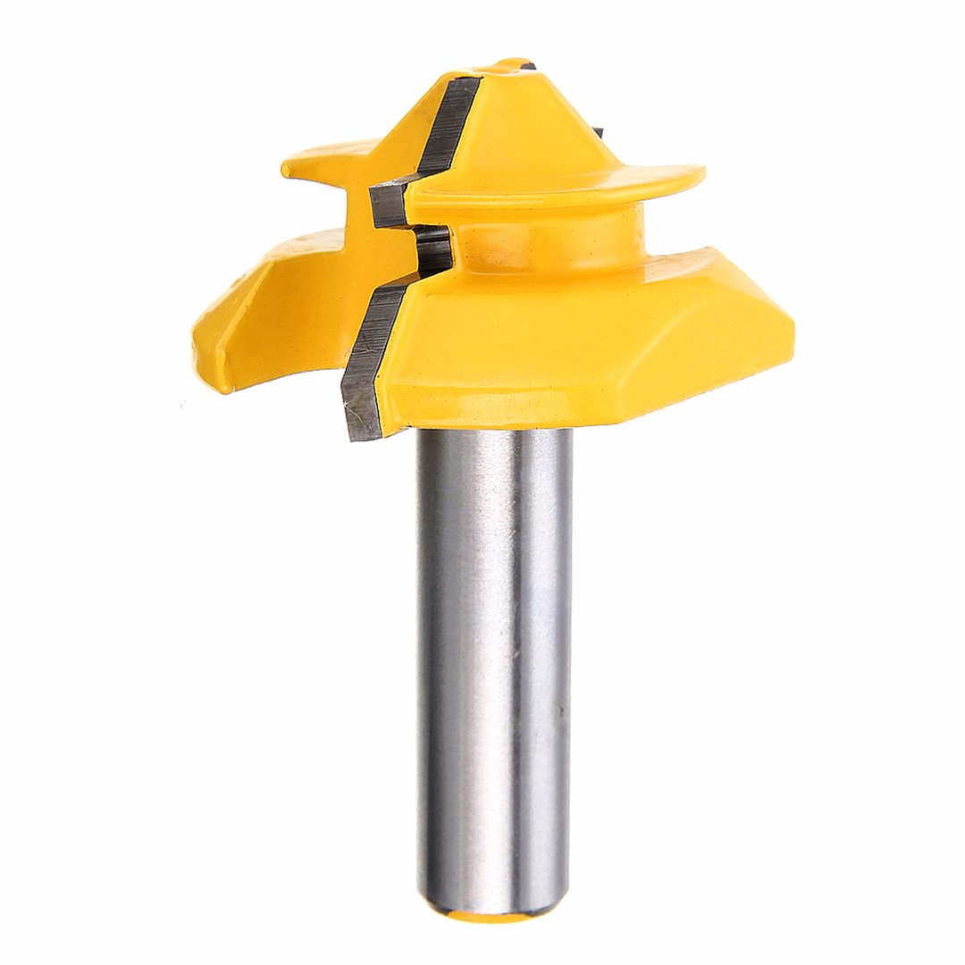 1pc Medium Lock Miter Router Bit Mayitr 45 Degree Joint Woodworking Cutter 1/2 x 2-3/4 Power Tool Accessories high grade carbide alloy 1 2 shank 2 1 4 dia bottom cleaning router bit woodworking milling cutter for mdf wood 55mm mayitr
