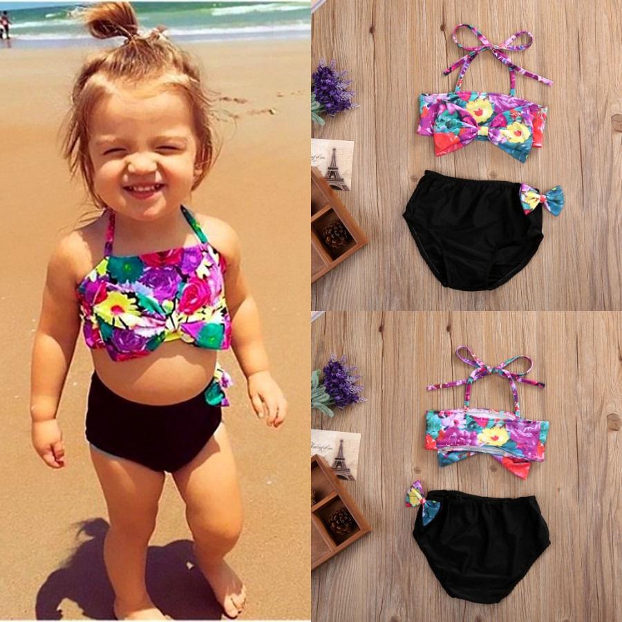 90ca243ae804 ... Piece Swimsuit With Shoulder Flower Detail. Cute Flower Kids Toddler  Baby Girls Halter Bikini Set 2Pcs Tops