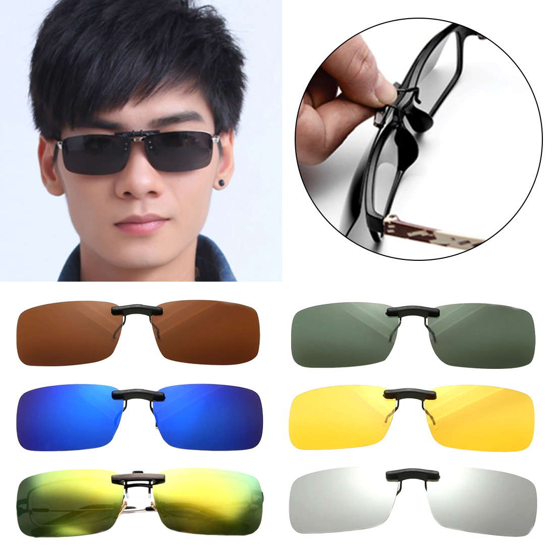 New 1Pcs Polarized Clip On Sunglasses Near-Sighted Driving Night Vision Lens