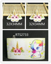 3inch 50yard ribbon and 50pcs resin 1 set printed cartoon printed ribbon and resin RTS2733