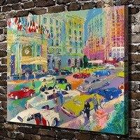 A1954 LeRoy Neiman abstracto colorido calles de la ciudad coche, HD impresión de lienzo decoración del hogar salón cuadros de la pared arte pintura