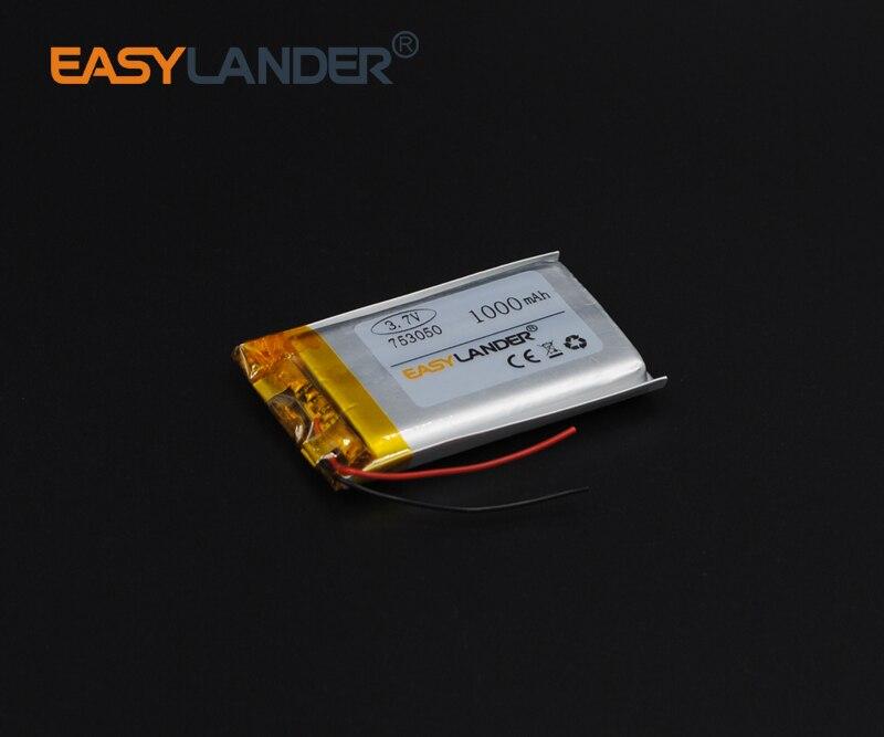 7.5x30x50mm 3.7V 1000mAh Rechargeable li-Polymer Li-ion Battery For Remote controller Flash lighting DIY PAD Lampe GPS 753050