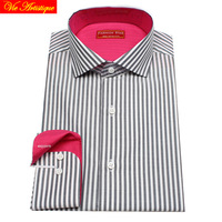 camisa masculina men's long sleeve white black striped dress shirts male tailored 6789 XL business office cotton slim fit