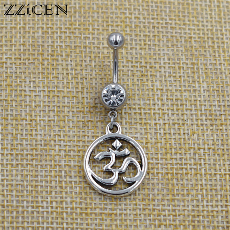 New Indian Buddhist Vintage Yoga OM Symbol Ohm Pendant Dangle Bar Belly Button Rings Crystal Body Navel Piercing Jewelry Gifts