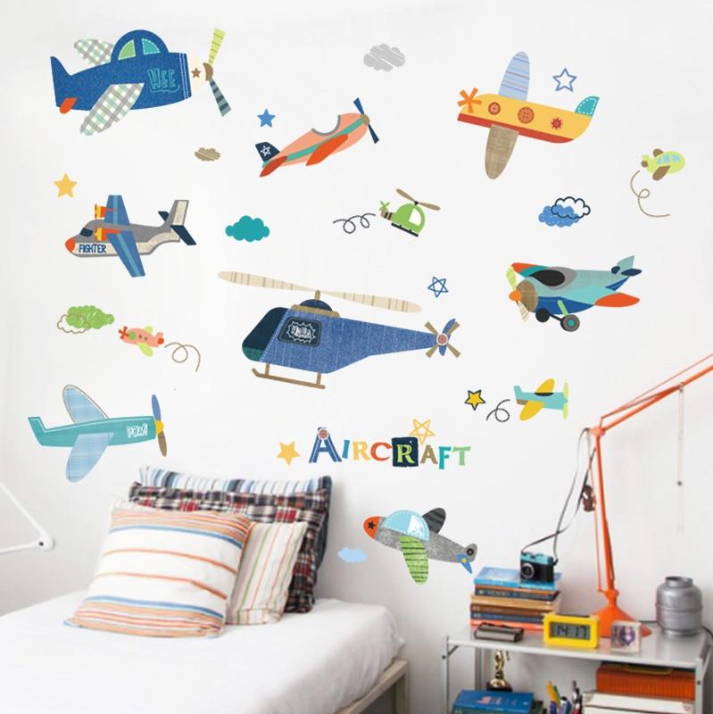 Stickers Cartoon Airplane Wall Sticker