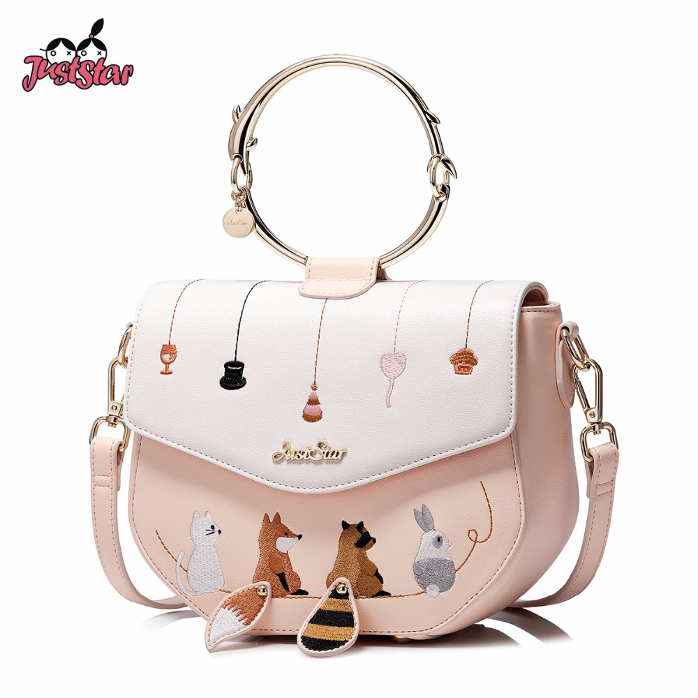 JUST STAR Women's PU Leather Handbag Ladies Cartoon Animals Embroidery Tote Purse Female Ring Handle Messenger Bags JZ4529 just star women s pu leather handbag ladies cartoon cat embroidery tote shoulder purse female leisure messenger bags jz4492