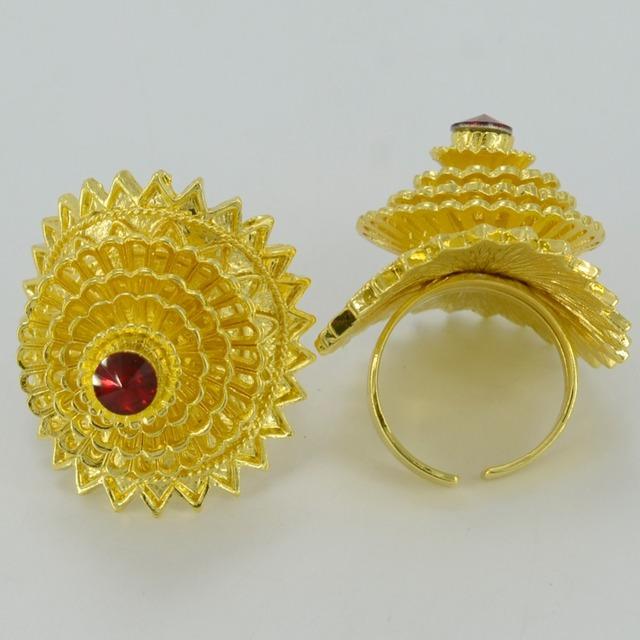 Ethiopian Jewelry sets Stone Pendant Necklace/Earring/Bangle/Ring  Gold Plated Africa Eritrea Habesha Bride Wedding #001517