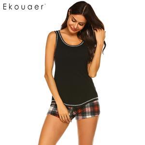 Image 2 - Ekouaer femmes vêtements de nuit dété pyjamas ensemble vêtements de nuit sexy o cou sans manches débardeur Plaid Shorts lâche salon Pyjama costume