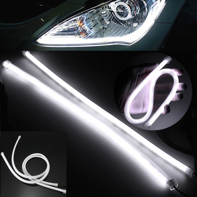 2PCS 45CM DRL Flexible LED Tube Strip Daytime Running Light Gel Silicon 3020 SMD 57 LED Car Turn Signal Light White DC12V 2pcs 12v car drl led daytime running light flexible tube strip style tear strip car led bar headlight turn signal light parking