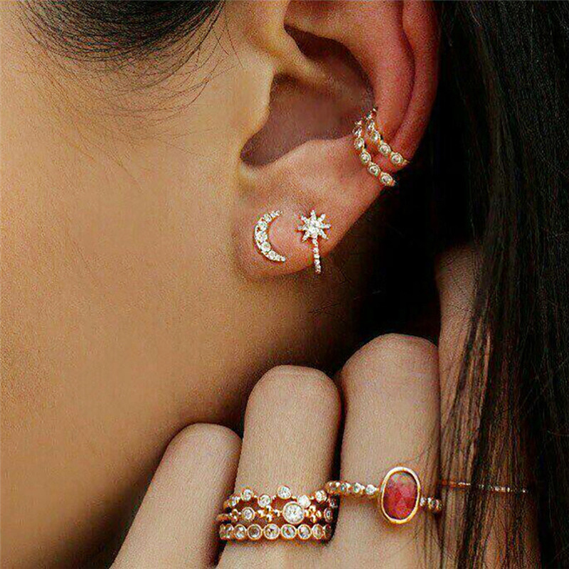 8PCS/1Set Ear Clip Stud Earring Crystal Rhinestone Ring Bohemian Women Jewelry Fashion