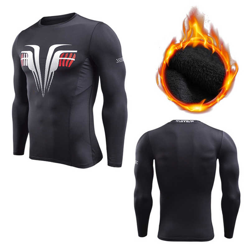 ベルベット冬のシャツ男性スポーツ Tシャツ圧縮フィットネスセータークロスフィットジャ冬 Rashgard 暖かい tシャツトップス