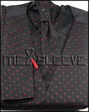 New arrival free shipping wedding man's red dot  waistcoat (vest+ascot tie+cufflinks+handkerchief)