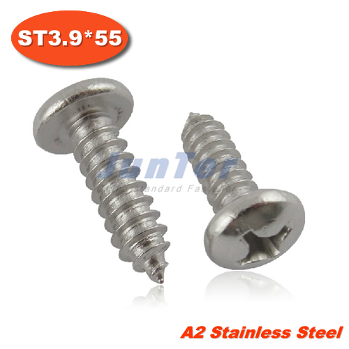 f19e132b691 100pcs lot DIN7981 ST3.9 55 Stainless Steel A2 Phillips Cross recessed Pan  Head Tapping Screw