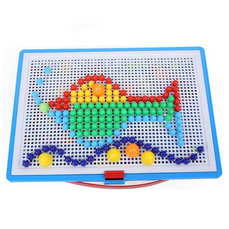 все цены на 296pcs Creative Mosaic Puzzle Toys Mosaic Mushroom Nail Kits Nail Composite Picture Puzzle Education Toys for Children Xmas Gift