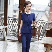 2 Piece Tops And Pants Summer Short Sleeve Uniform Styles Pantsuits For Ladies Office Business Women Interview Job Blazers Set