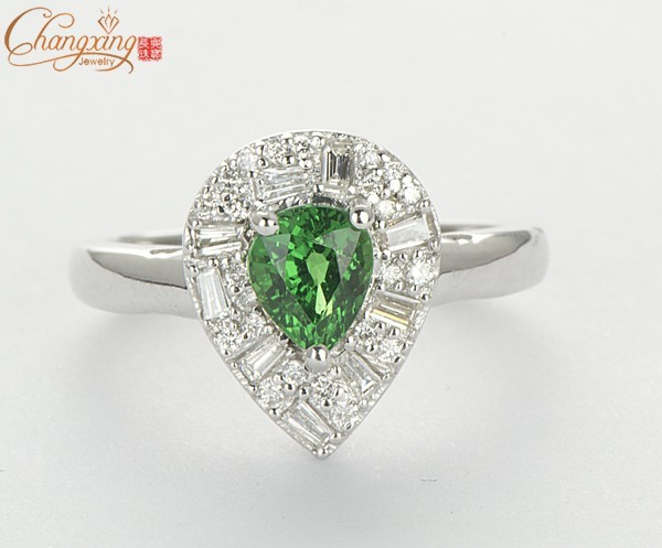 Caimao Jewelry 1.06ct Natural Green Tsavorite Garnet 14k Gold Diamond Engagement Ring