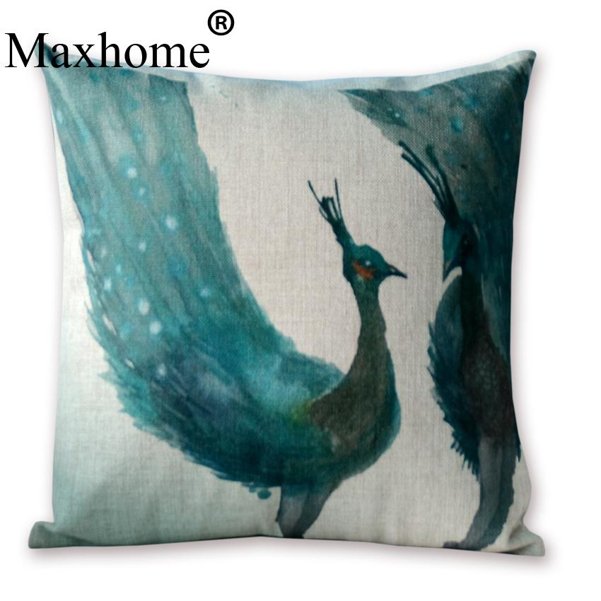 Watercolor Peacock Pillowcase Lovers Gift Cushion Decorative Pillow Home Decor Sofa Throw Pillows Almofada Luxury Sofa Cusions