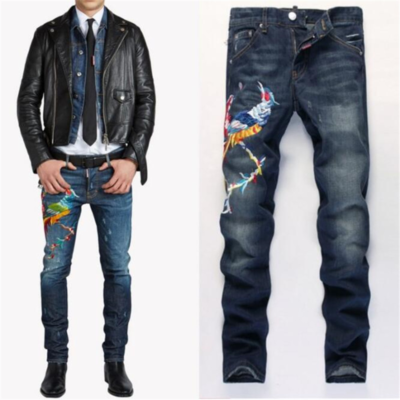 Phoenix Embroidered Jeans Mens Light Wash Biker Jeans Homme Slim Fit Straight Denim Pants hip hop  Harlan Jean Men diesel dz1436