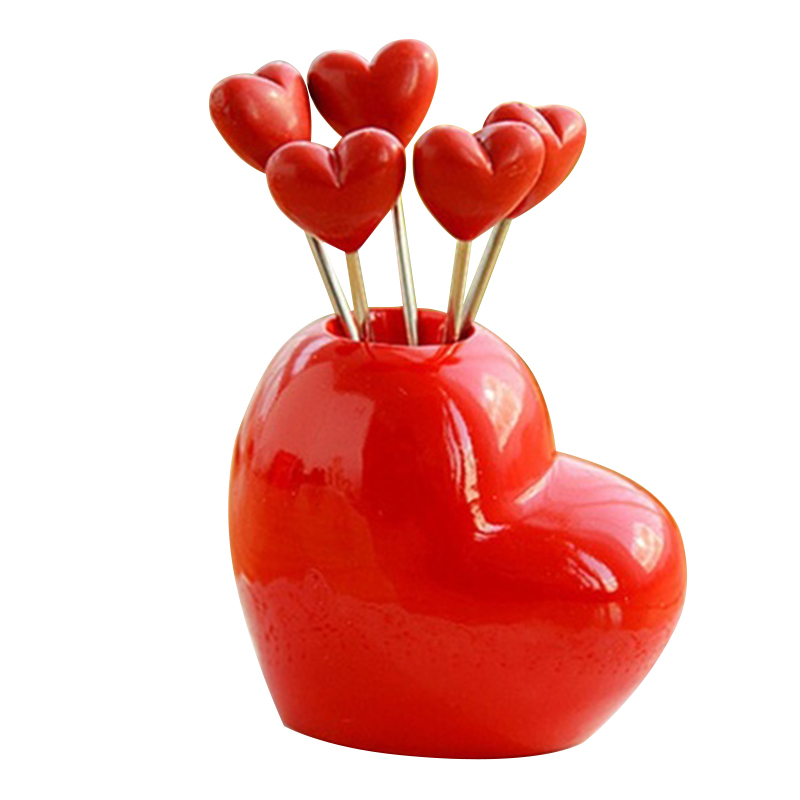 Creative Love Heart Fruit Fork Stainless Steel Kitchen Utility 1set Small Tool 2016