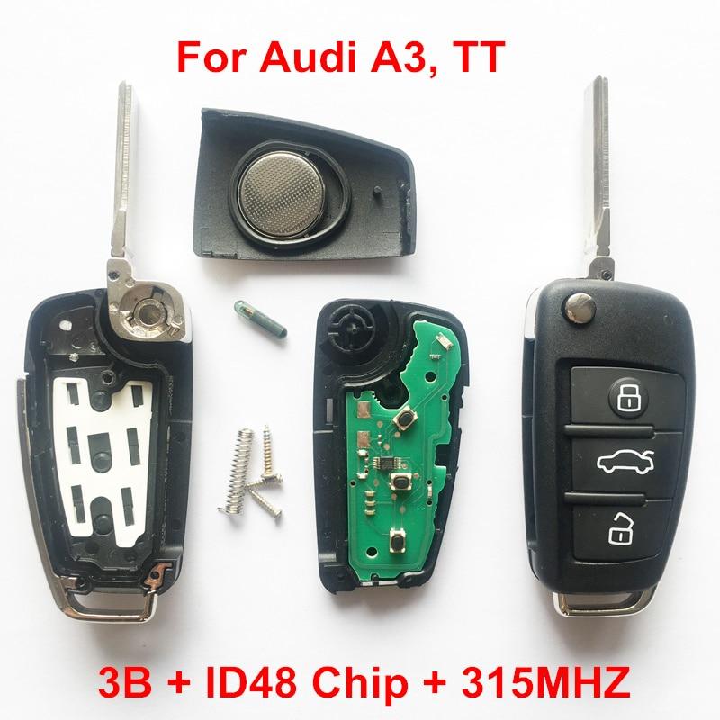 3 boutons À Distance Clé Pour Audi A3 TT ID48 Puce 315 MHZ Modèle: 8X0837220G