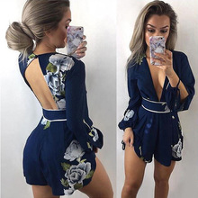 Women irregular bandage lace up print summer jumpsuit bodysuit Casual Rompers overalls for female women long