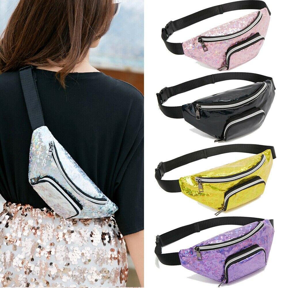PVC Laser Waist Fanny Pack Purse Women Girls Sports Casual Crossbody Chest Bags