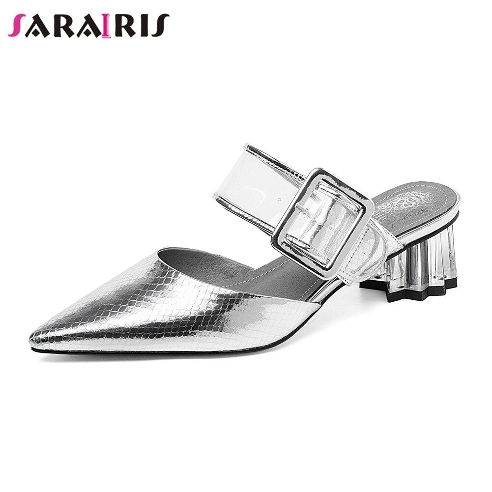 SARAIRIS nouvelle mode bout pointu pantoufles femme été chaussures en cuir véritable Mules femmes chaussures femme grande taille 33-43