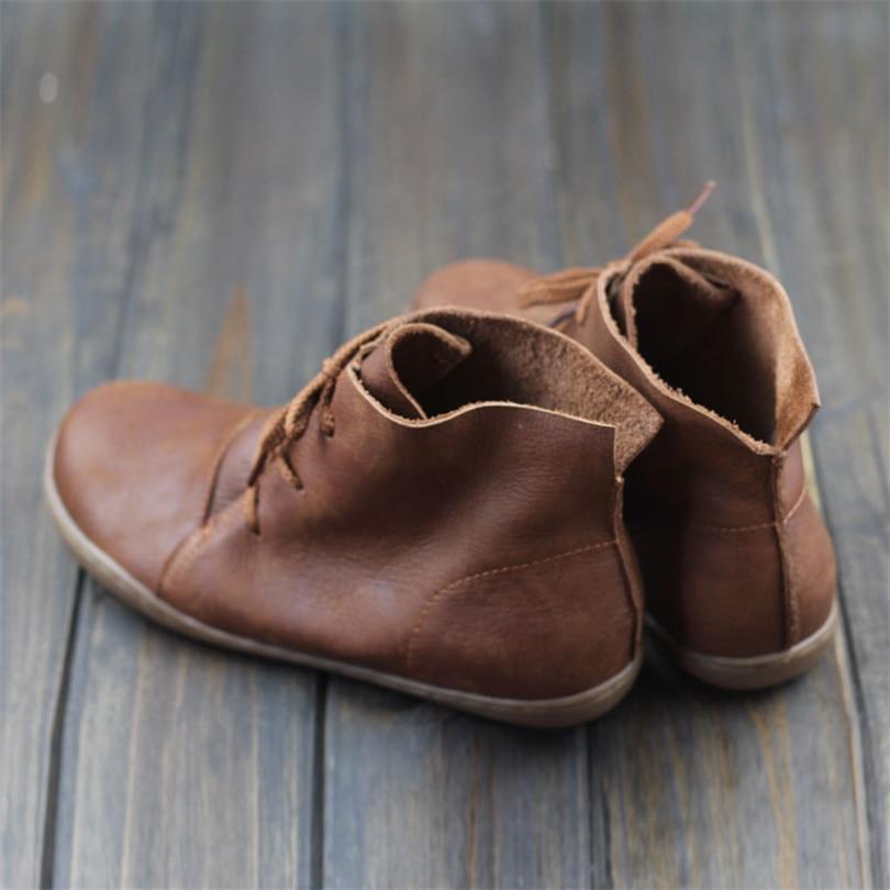 Botines Zapatos Primavera Lace Steinmeier brown Up Otoño De Mujeres Redonda Footware Cuero Black Genuino Mujer Tobillo Punta EECPnqwS