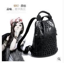 Панк-стиль овчины заклепки женщин вскользь рюкзак кожаный мешок лоскутное черный и красочные