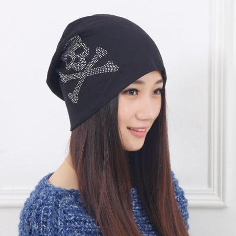 Spring and autumn winter women's 100% cotton hip-hop hat lovers skull print fashion   Skullies     Beanies   6 colors