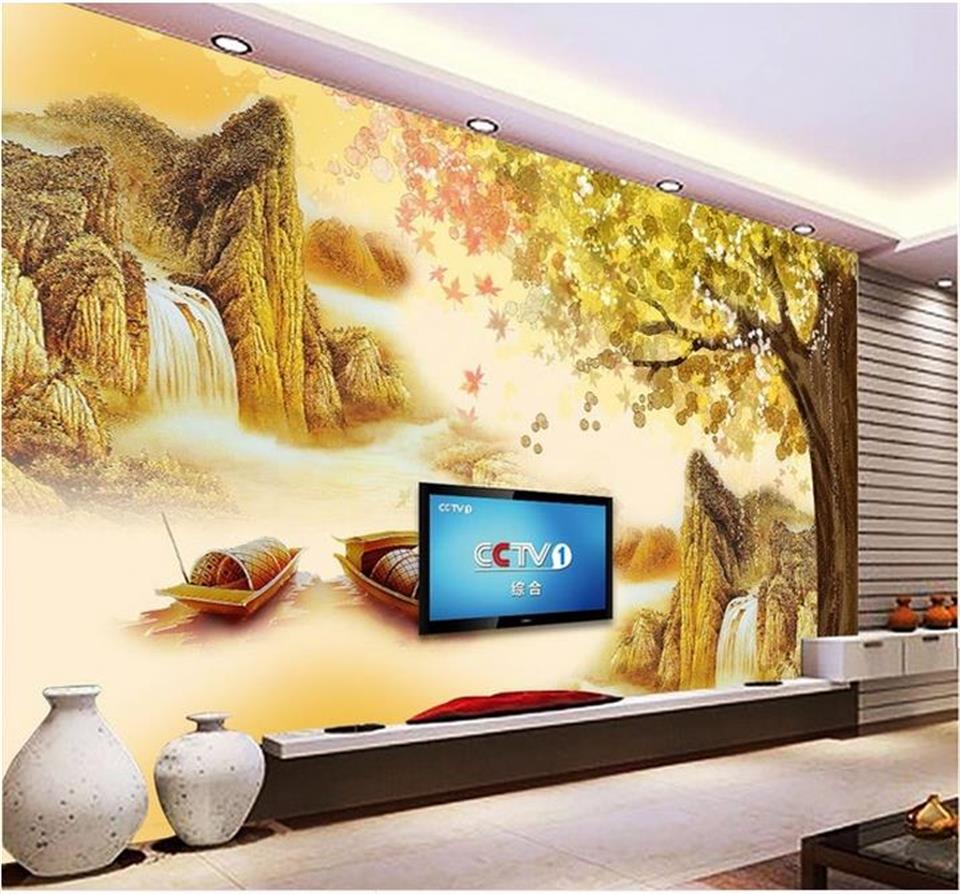3d wallpaper photo wallpaper custom for living room mural Chinese landscape boat river 3d painting 3d wallpaper for walls 3d