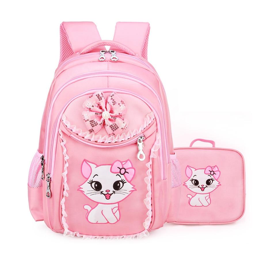 2019 School Bags For Teenager Girls Sweet Cute Cartoon Princess Cat Children Backpack Kids Lace Bookbag Primary School Backpack