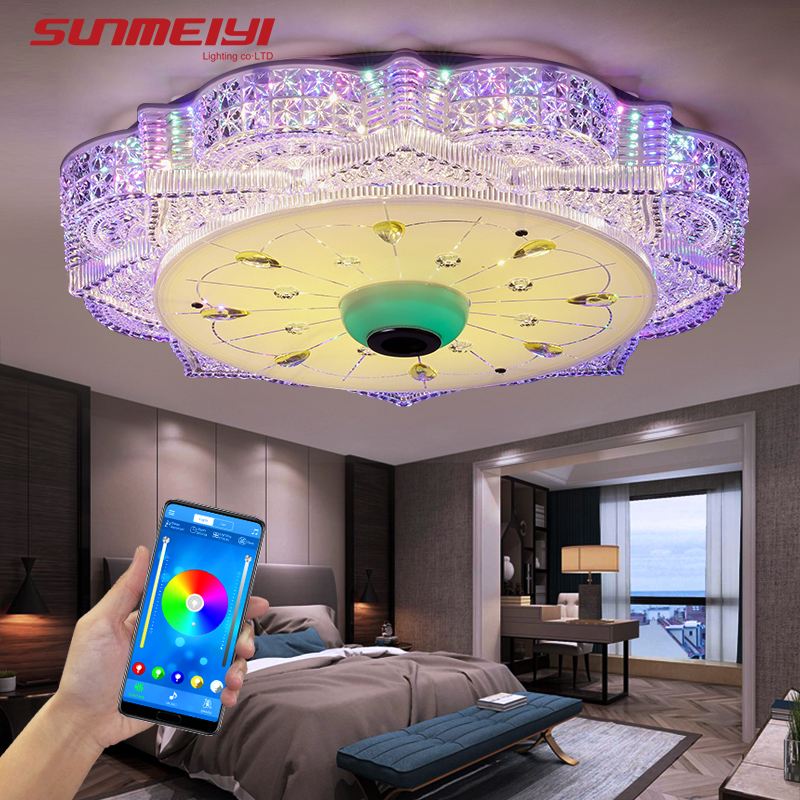 Modern Dimmable LED Ceiling Lights With Bluetooth For Living room Bedroom Kitchen Music Light Children 39 s Room Remote RGB Lamp in Ceiling Lights from Lights amp Lighting