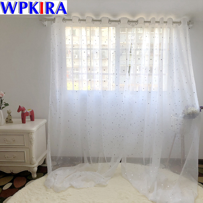 US $4.14 44% OFF|Modern White Silve Star Curtains Tulle Living Room Home  Decor Sheer Window Curtain Living Room Tulle Panels For Kitchen WP234 40-in  ...