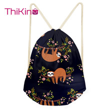 Thikin Sloth Animals Casual Sack Drawstring Bag for Women Travel Backpack Toddler Softback Lady Beach Mochila DrawString