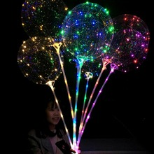 18 Inch Luminous LED Balloon With Stick Transparent Valentine Day Wedding Party Decoration Balloons haha998