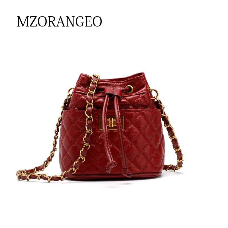 MZORANGE2018 Vintage Genuine Leather Bucket bag Fashion Chain women Shoulder bag Small Brand design handbag Crossbody bag Lingge 2017 women bag cowhide genuine leather fashion folding handbag chain shoulder bag crossbody bag handbag party clutch long wallet
