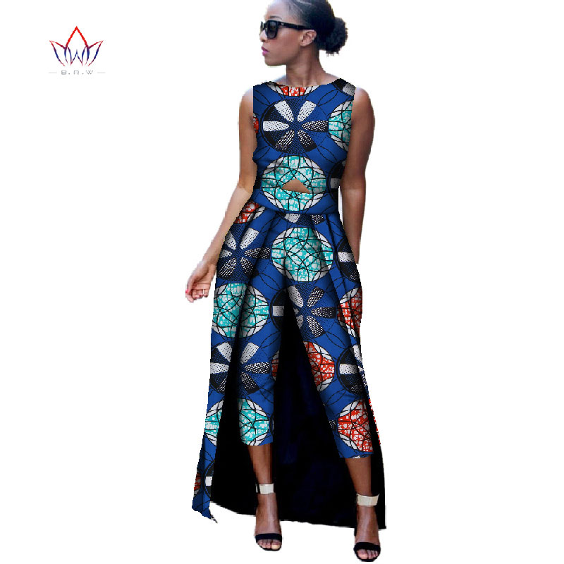 2018 New Fashion Africa Bomulls Print Romper Afrikanska Bazin Riche Jumpsuit För Kvinnor Dashiki Fitness Jumpsuit For Lady WYD8