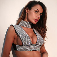 Vrouwen rhinestone tank Parel Diamonds Backless Vest Sexy Elegante Pullover Collage Splitsen Straight Crop Tops 2017 Vest top vrouwen